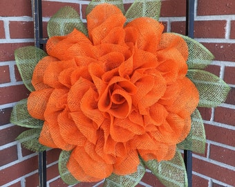 Marigold Wreath, Fall Wreath, Fall Decor, Front Door Wreath, Autumn Wreath, Handmade Wreath, Burlap Wreath, Handmade Gift, Housewarming Gift