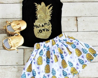 Sale, Girl's Summer Pineapple Skirt Outfit, Sizes 2t, 3t, 4T, 5T, 6, 7, 8, 9, 10
