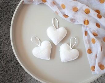 Heart Ornaments Felt Hearts, White & Pearl, Wedding Decorations, Home Decor, Hanging Plush Hearts, Pearl Ribbon, Set of 3
