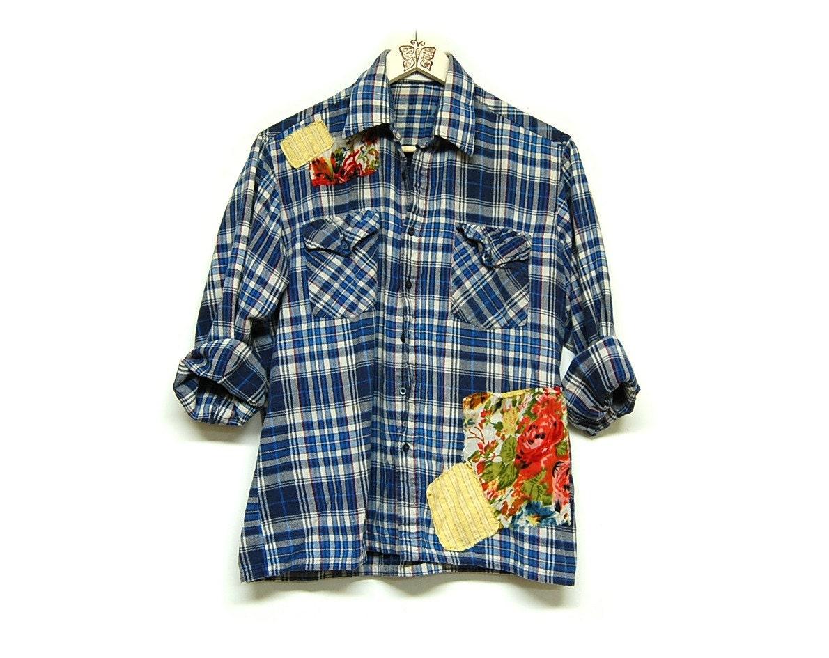 Medium Oversized Flannel Shirt Distressed Plaid Flannel