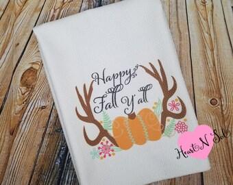 Kitchen Towel, Hand Towel, Decorative Towel, Fall Towel, Harvest Towel, Antlers, Pumpkin, Happy Fall Yall, Tea Towel, Dish Cloth