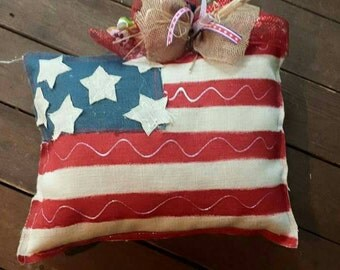 Fourth of July Burlap Pillows, Patriotic, home decor