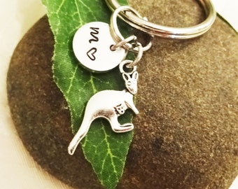 "KANGAROO KEYCHAIN - tiny kangaroo with baby in pouch -with initial charm (fits 1-2 characters)  Read ""item details"" below and see all photos"