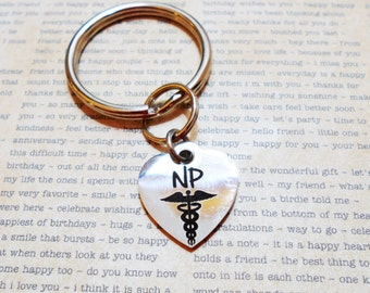 "STAINLESS STEEL NP keychain  - nurse practitioner keyring - Read ""item details"" and see all photos - one flat rate shipping in my shop :)"