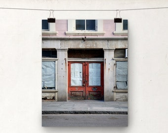 Door Photo, Fine Art Photograph, Red Pink, Architecture, New Orleans