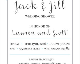 Jack and jill invitations etsy for Jack and jill ticket templates