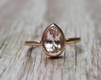 Morganite rose gold ring, morganite engagement ring