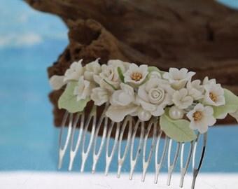 Vintage Rose Clay Flower Bridal Comb/ Hair Comb/ Wedding Comb