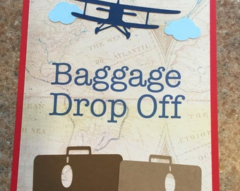 Baggage Drop Off Sign, Vintage Airplane Party Decorations, Vintage Airplane Party Theme