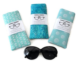 Sunglass Eyeglass Cases, Limpet Shell, Snorkel Blue, Fabric Sunglass Eyeglass Holder, Turquoise Aqua Eyeglass Sunglass Holder, Gift for Mom