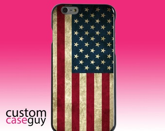 Hard Snap-On Case for Apple 5 5S SE 6 6S 7 Plus - CUSTOM Monogram - Any Colors - Red White Blue United States Flag Old