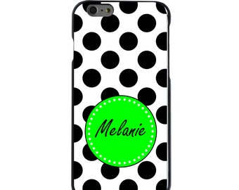 Hard Snap-On Case for Apple 5 5S SE 6 6S 7 Plus - CUSTOM Monogram - Any Colors - Black White Green Polka Dots