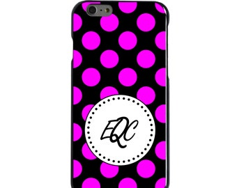 Hard Snap-On Case for Apple 5 5S SE 6 6S 7 Plus - CUSTOM Monogram - Any Colors - Pink Black White Polka Dots