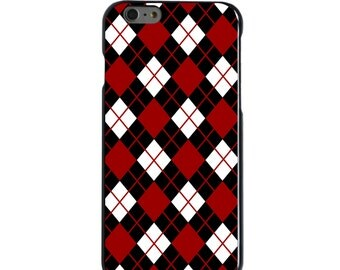 Hard Snap-On Case for Apple 5 5S SE 6 6S 7 Plus - CUSTOM Monogram - Any Colors - South Carolina USC Gamecocks Colors - Argyle Pattern