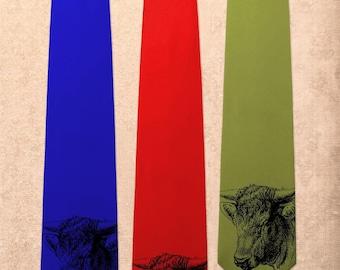 Steer - Bull Cow Hoof Farm Dairy - Screen Printed Mens Necktie