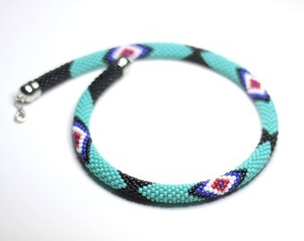 Turquoise and Black Zulu Inspired Necklace, African Style Necklace, Blue Beadwork Necklace, Tribal Necklace, Ethnic Turquoise Necklace