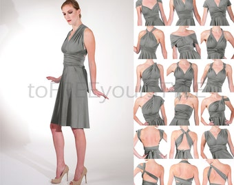 Short infinity dress in STEEL grey matte, A-LINE Free-Style Dress, convertible bridesmaid dress, infinity wrap dress, short bridesmaid dress