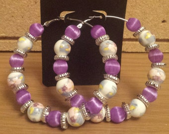 Basketball wives /Poparazzi inspired purple floral hoop