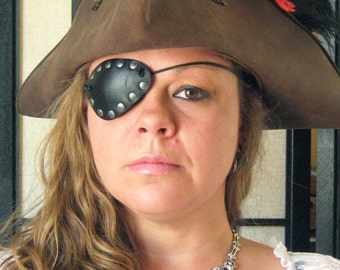 Pirate Freebooter Privateer Leather Stylish Eye Patch Cosplay