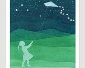 Giclee Print watercolor painting girl kite green starry night nursery art wall decor illustration by VApinx
