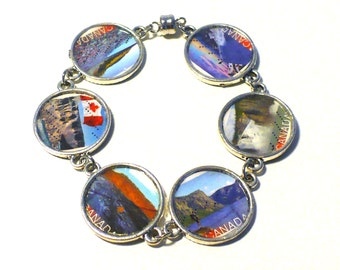Postage Stamp Bracelet Eco-design Upcycled Jewelry Canadian Landscape Nature Scenery Stamps