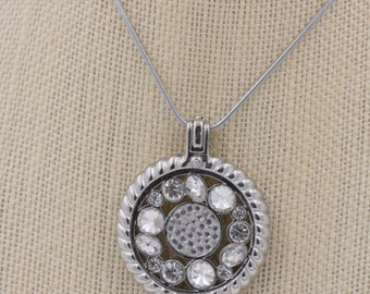 Interchangeable 33mm Coin Necklaces-Silver Base  with Crystal Circles Coin