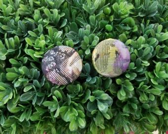Reversal- Handmade Fabric Button Earrings