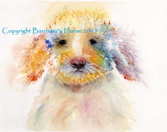 Labradoodle, fine art, Giclee Watercolour Painting Print A4. Archival quality inks