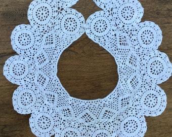 "Crochet collar, white cotton, crochet, scalloped edge, 18"" around and 4 1/2"" wide"