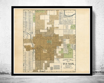 Old map of Tucson Arizona