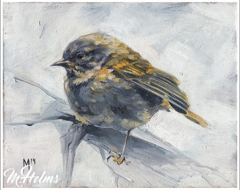 Print or Note Card: White Warbler