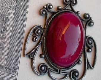 French Vintage art nouveau style ornate pendant large red pink glass cabochon pendant