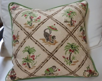 "ON SALE!!! Originally 40.00 Set of 2 Pillows Covers Oriental Toile de Jouy ""Kanchow"", monkeys,palm trees ""Tahiti"" Portfolio and Waverly"