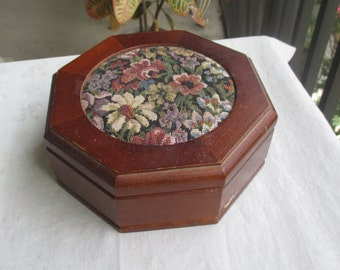 Vintage Tapestry Top Wooden Jewelry Box With Mirror