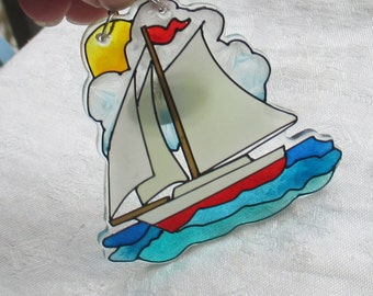 Retro Nautical Sail Boat Joan Baker Designs Suncatcher
