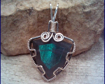 Labradorite Sterling Silver Wire Wrapped Pendant  PW162