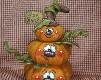 A Jack Stack Pumpkin Pattern #237 - Primitive Doll Pattern - Halloween - Pumpkins - Jack-o-lanterns - Patch Pile up