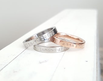 name ring 3 mm Date and name Ring Rose gold,stainless steel ring Anniversary Hand Stamped stacking ring Hand stamped jewelry
