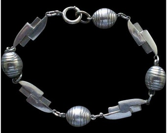 "Awesome 1930's German Euro Style Handwrought BAUHAUS Streamline Moderne Silver Plated ""Barrels + Bolts"" GEOMETRIC BRACELET"