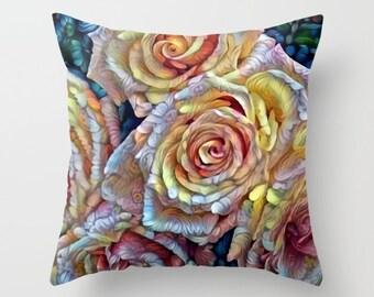 Roses Pillow, Roses Pillow Cover, Yellow Roses, Flower Pillow, Impressionism Pillow, Impressionist Decor, Pink Pillow, Yellow Pillow, Garden