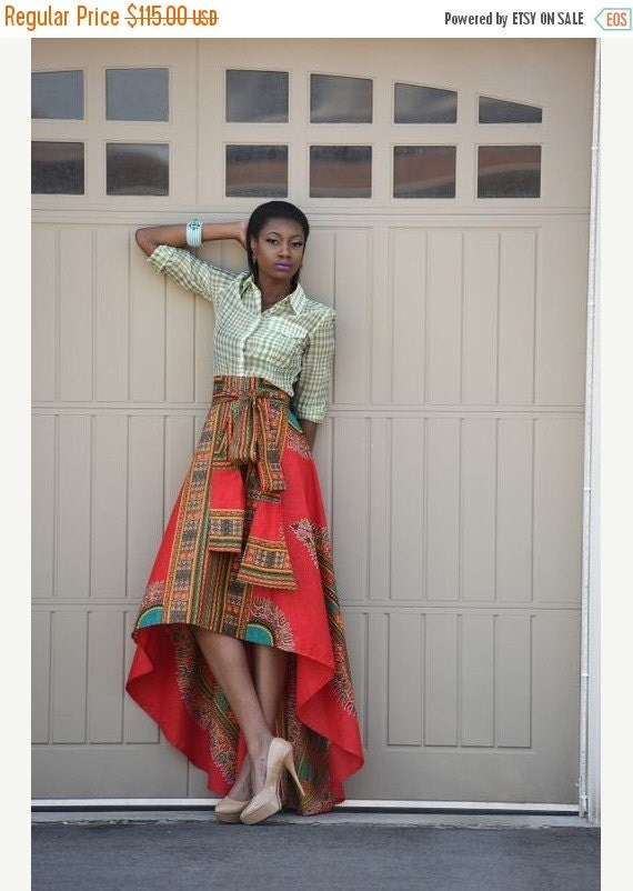SPRING SALE African Print Skirt  Red Dashiki  skirt, African clothing