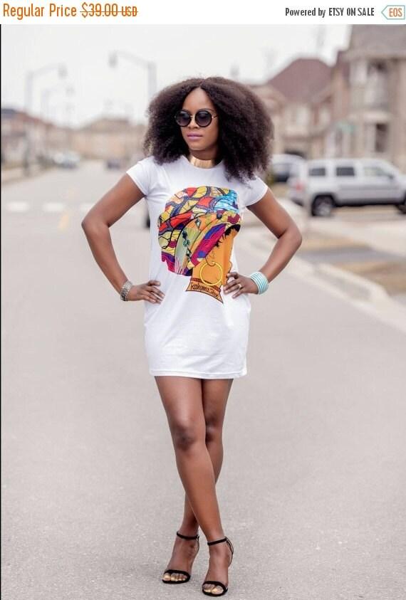 SUMMER SALE Queen Neria headwrap T-Shirt dress.