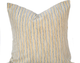 "One Striped Pillow Cover, cushion, decorative throw pillow, Yellow pillow, 12"", 14"", 16"", 18"", 20"", 22"" covers, Grey pillow"