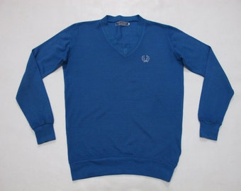 Vintage Fred Perry 70s Blue Acrylic Jumper Size Medium M