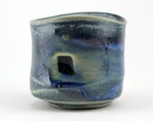 Sculptural stoneware cup, Blue matte glaze with soft glass and seashells, Cone 6 oxidation
