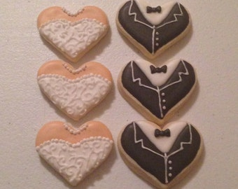 2 Dozen Mini Bride and Groom Heart Shaped Sugar Cookies