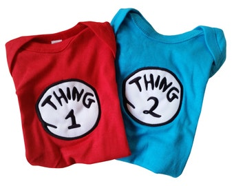 Twin Outfits Thing 1 Thing 2 Onesies Red Turquoise