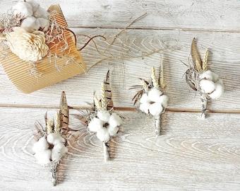 Organic Cotton boll Boutonniere Rustic Wedding butonholle Groom Groomsmen Cotton wedding aniversary Pheasant feather Spanish moss Rye ear