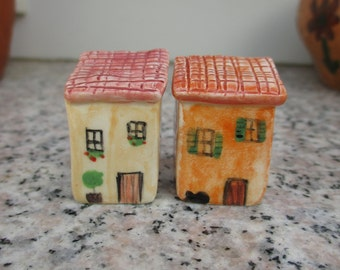 4 Little Ceramic Beach Housescolorful By Tatjanaceramics