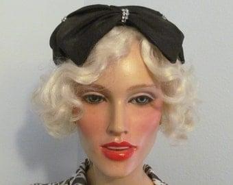 Vintage Mid-1950's Close Black Bow Hat with Rhinestones